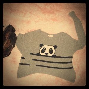 Adorable Cozy Panda Slouch Sweater